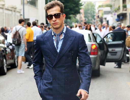 Blue windowpane suit 2