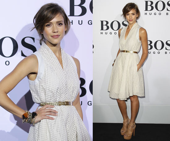Jessica Alba in metallic trend 2014