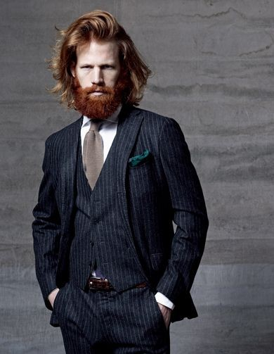 Navy suit with chalk stripes