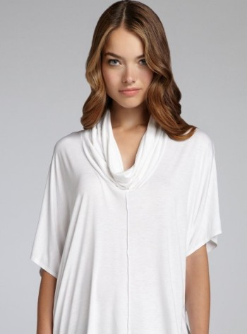 1211-Wyatt-women-s-white-jersey-cowl-neck-short-sleeve-drape-top-1
