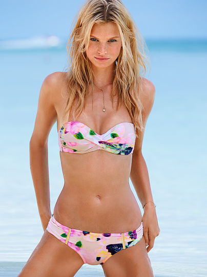 Printed bandeau swimsuit
